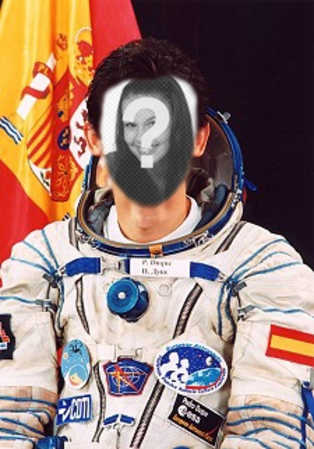 Photo effect where you can put your face on the body of Pedro Duque, Spanish astronaut