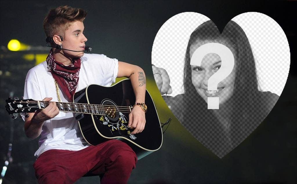 Upload your picture inside a heart and with Justin Bieber