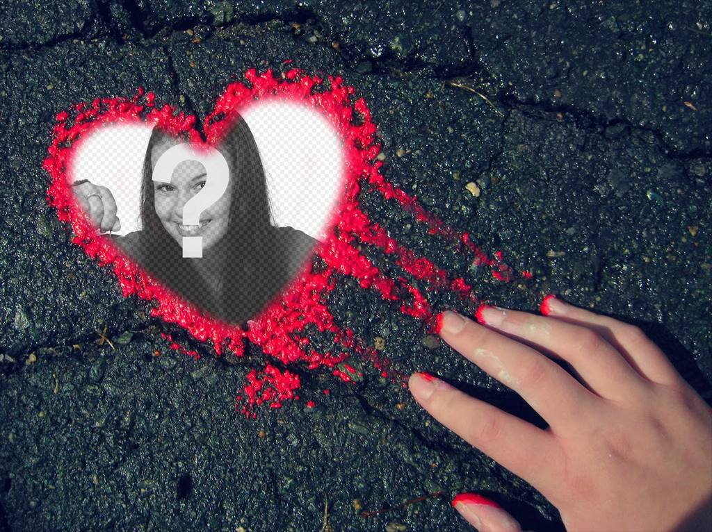 Photo effect of a heart of red ink for your photo
