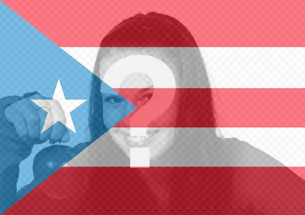 Photomontage flag of Puerto Rico for your photo