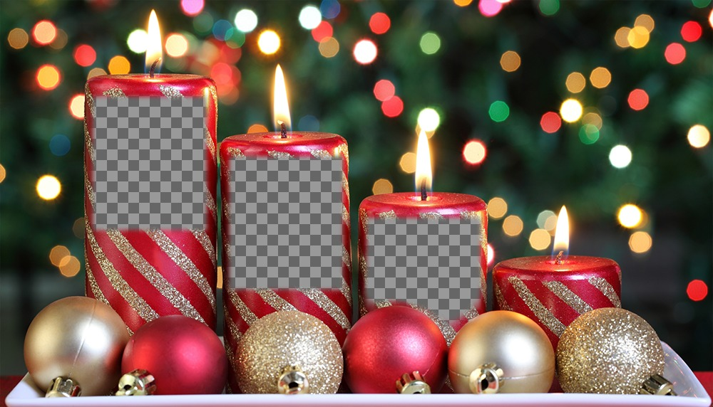 Christmas photo effect of candles for three photos