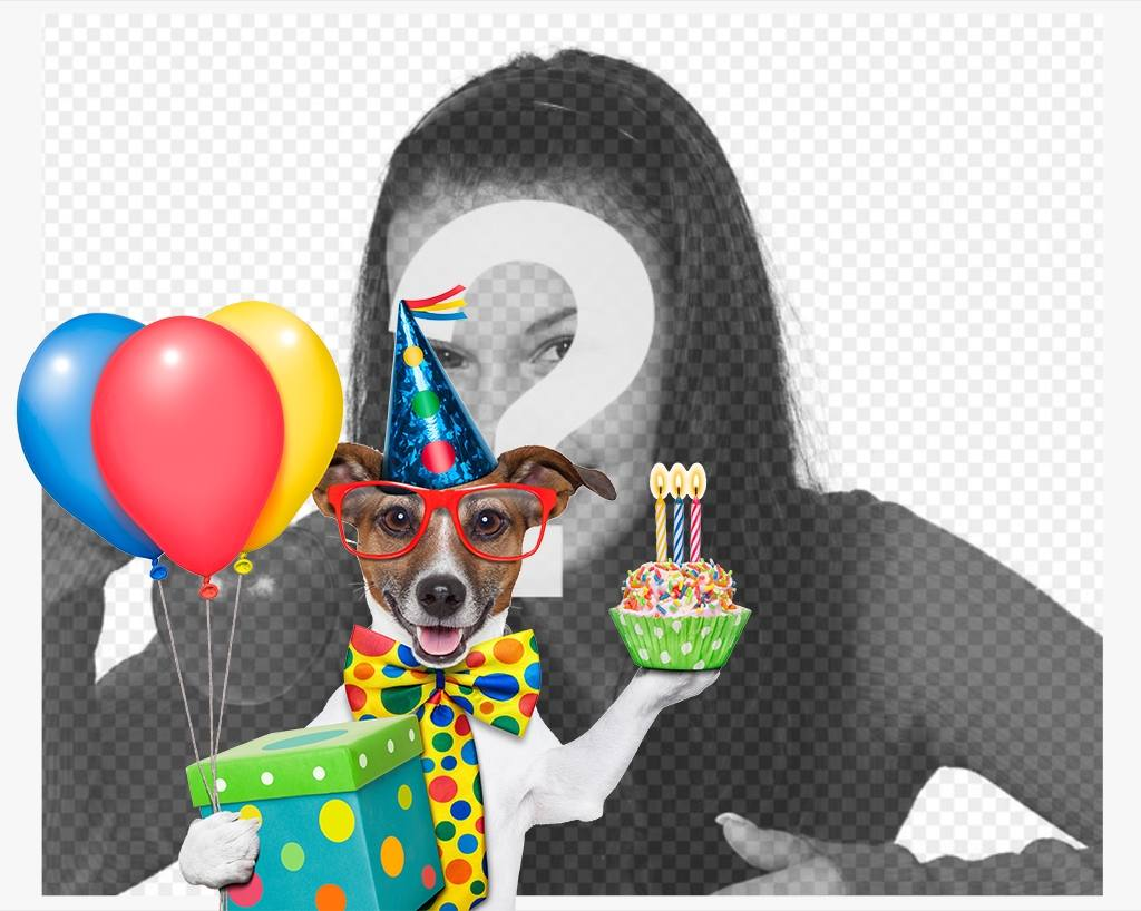 Photo effect of a dog with birthday cake and balloons