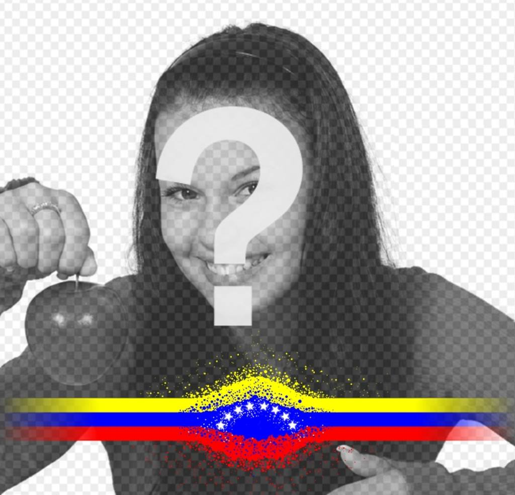 Photo effect with a band of Venezuela flag