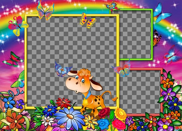 Photo Frame (3 photos) with rainbow background, flowers and happy cows