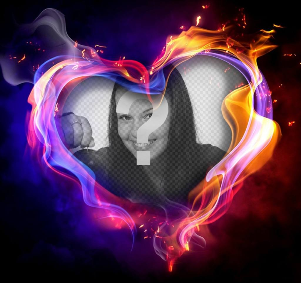 Photo effect of a heart on fire to upload your photo