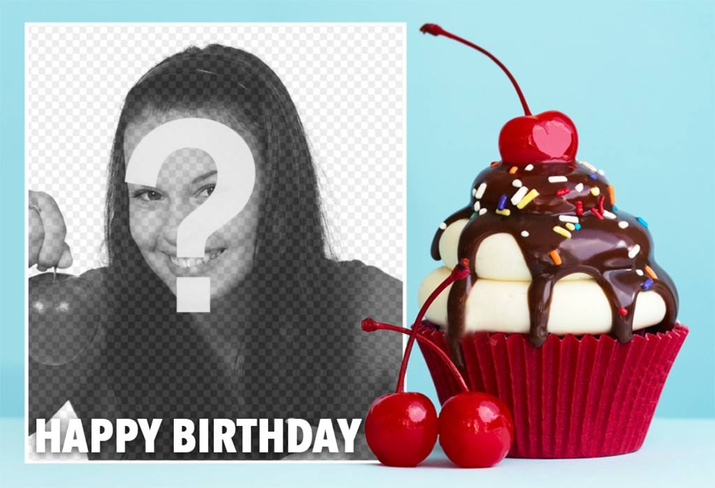 Photo effect with a cupcake for birthday