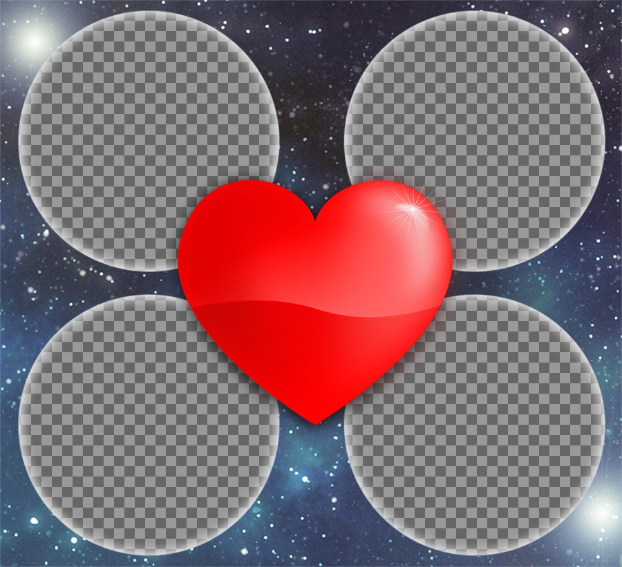 Photo effect of Love with a heart for 4 pictures