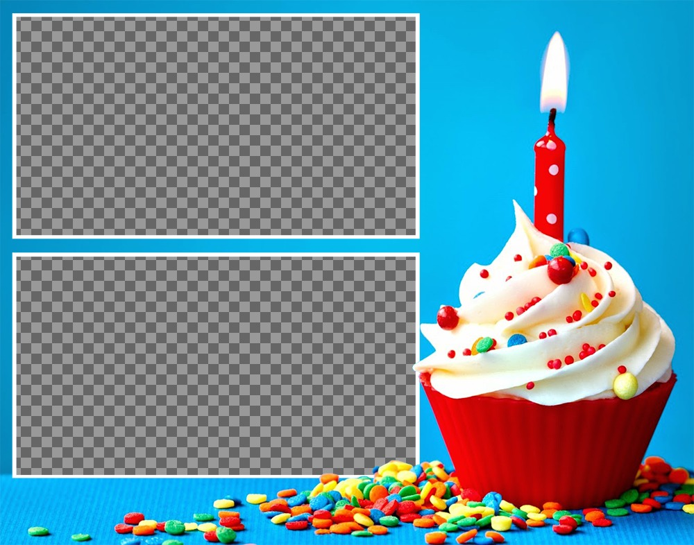 Collage for two photos with a Birthday cupcake