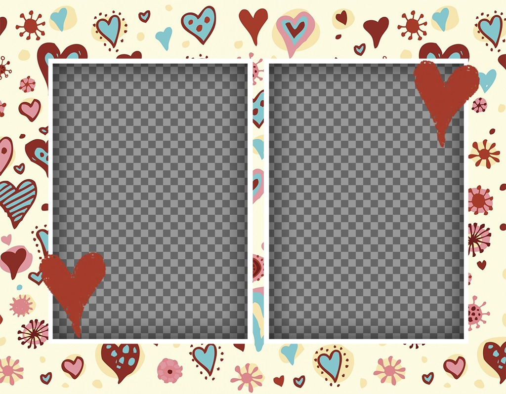 Effect for two photos with a background of many hearts