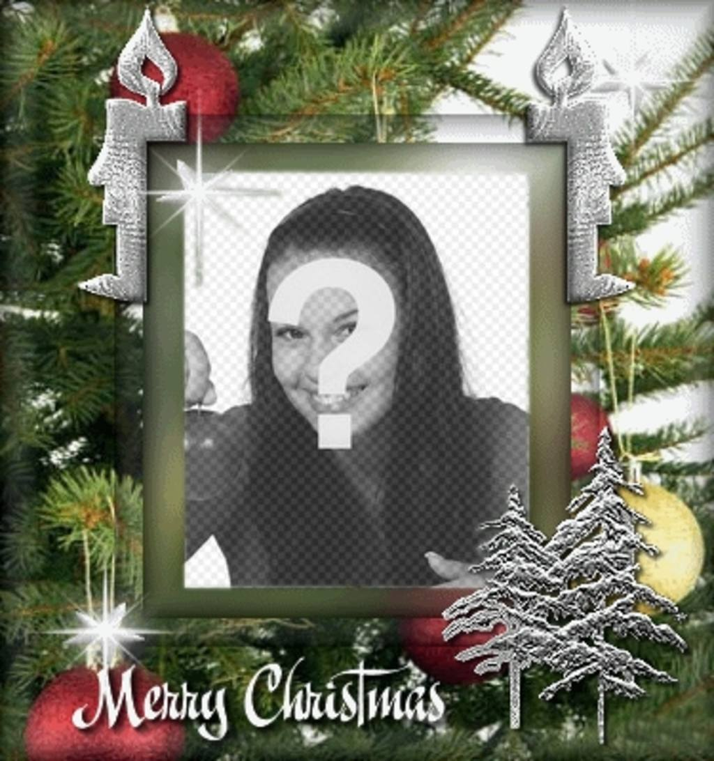 Customizable Christmas card with a photograph. Background of Christmas tree, with animation