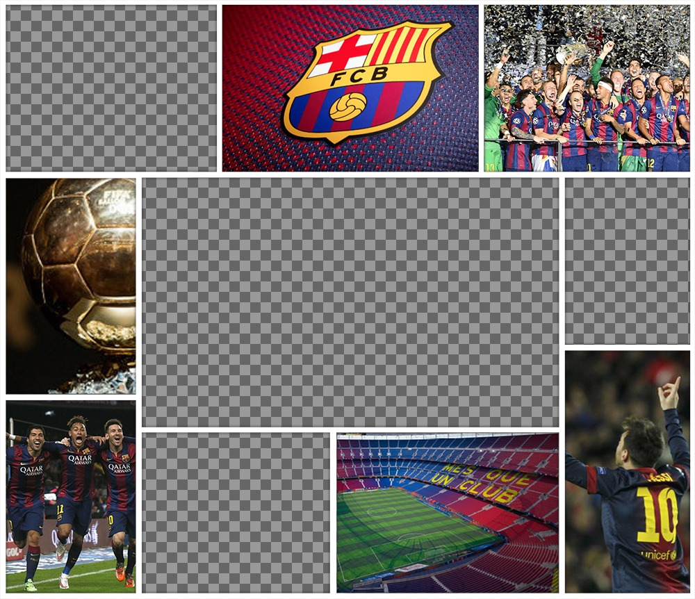 Original collage of FC Barcelona to edit with 4 pictures