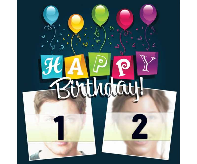 Editable card with balloons and colorful text of HAPPY BIRTHDAY