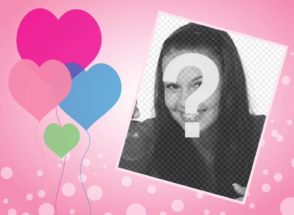 Love card with hearts balloons where you can add your photo