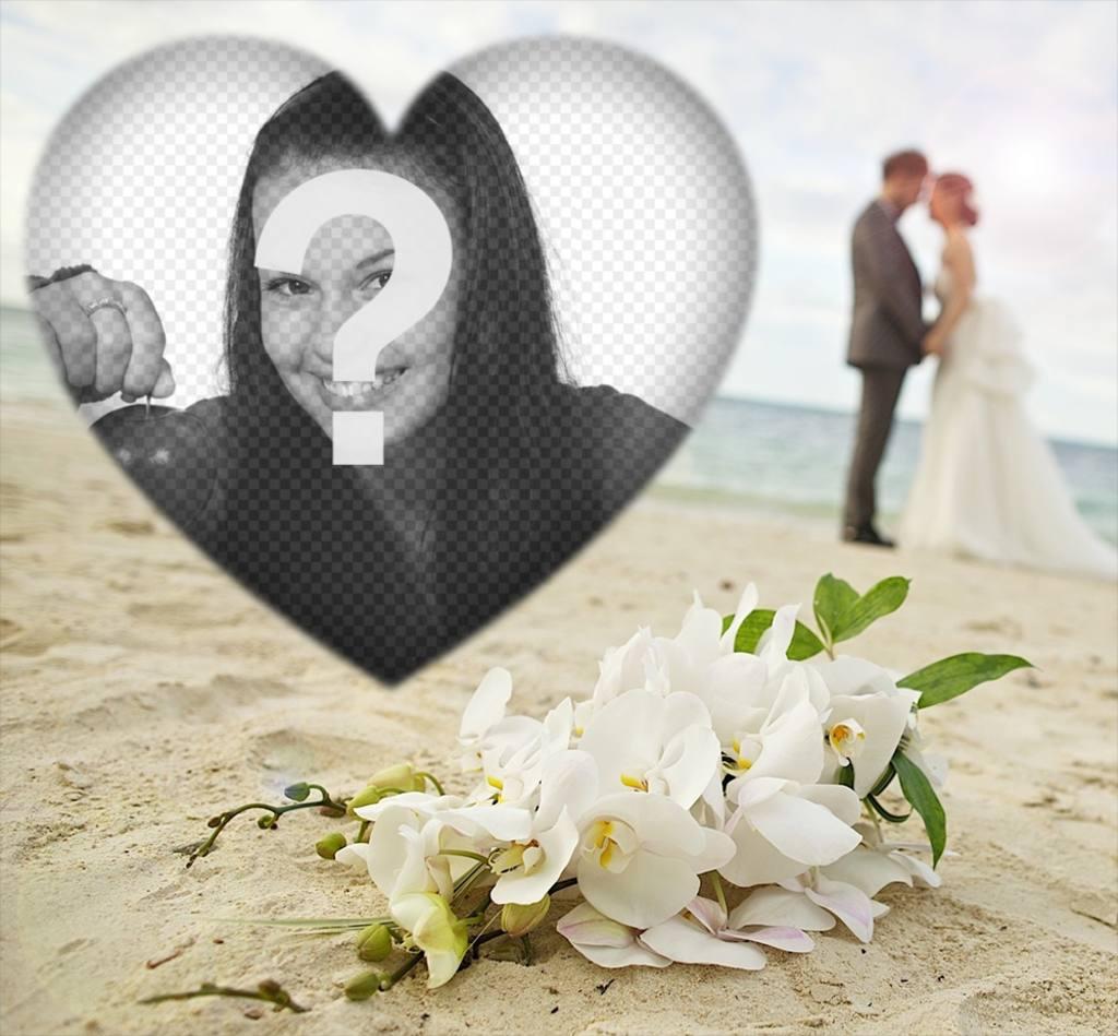 Editable love frame with a couple on the beach for your photo