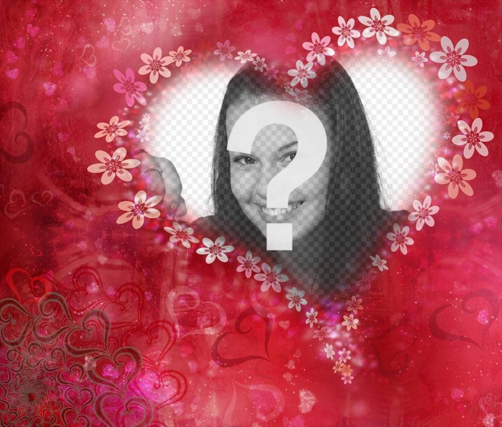 Heart with flowers to decorate your photo with this free effect