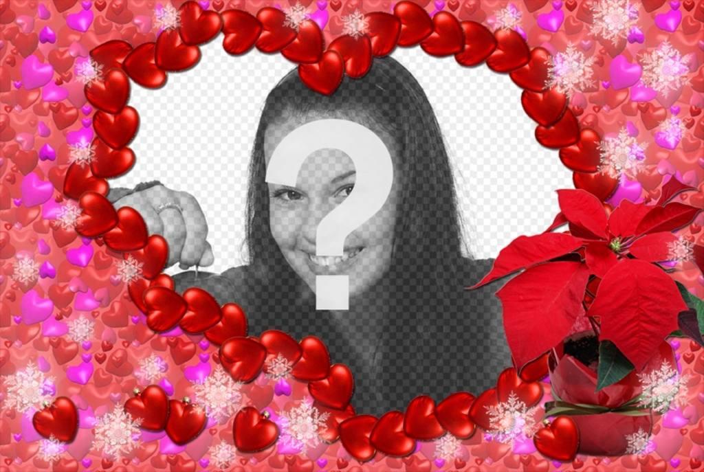 Heart shaped photo frame made of small hearts