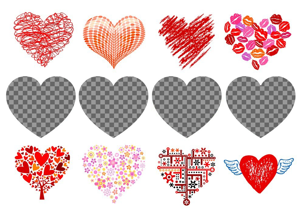 Editable collage with hearts to decorate four photos