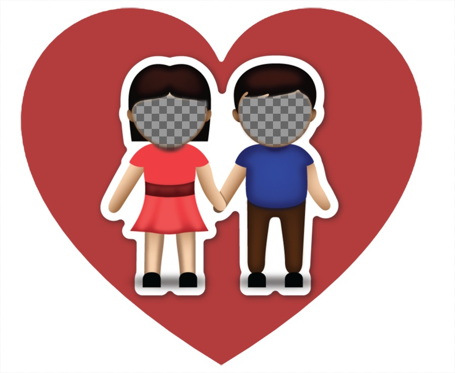 Photo effect of love with the emoji of the couple where you can upload two pictures