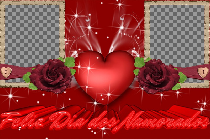 """Frame for two photos of love, complimenting the Valentine""""s Day, Valentine""""s Day. Use this effect to create a CUSTOM card, online and free"""