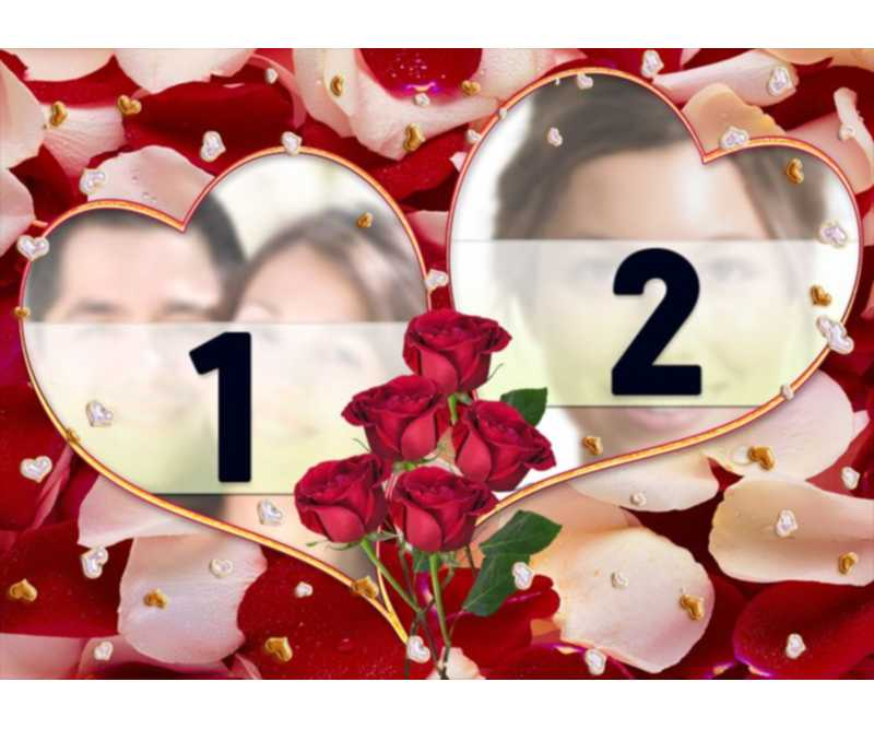 valentine's day frames and photomontages