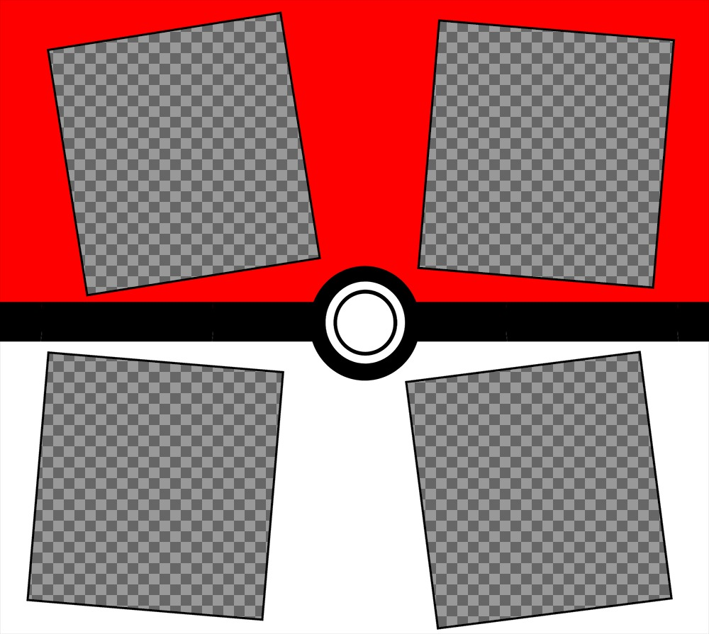 Collage of Pokeball desing where you can upload four photos and free
