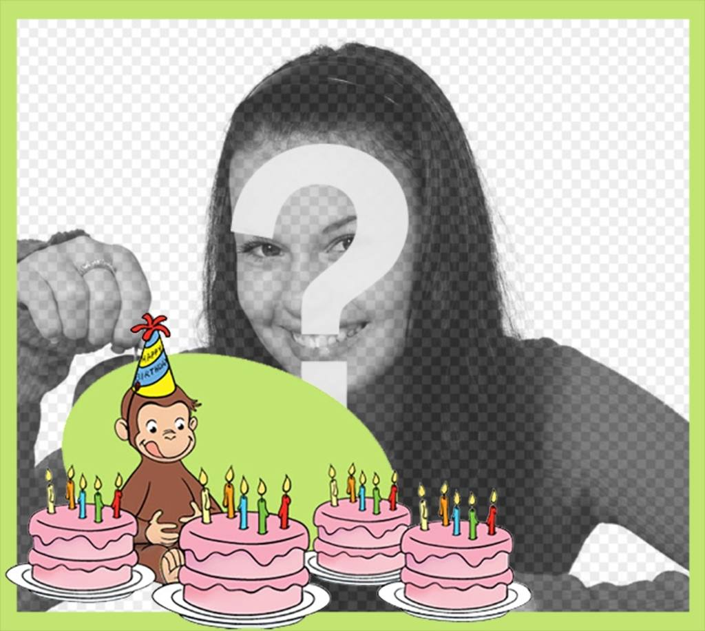 Editable Birthday Card With Curious George For Ur Photo