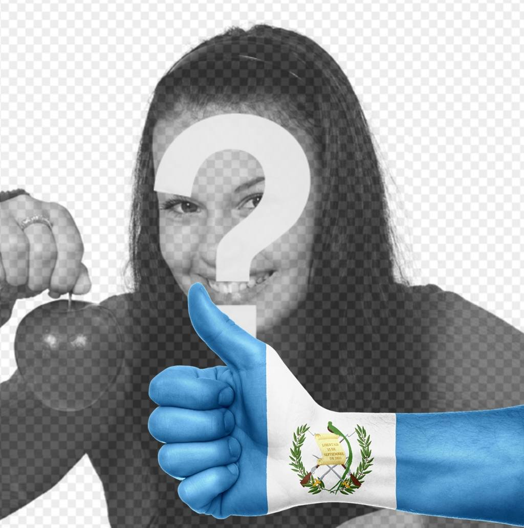 Hand with the flag of Guatemala painted where you can add your photo