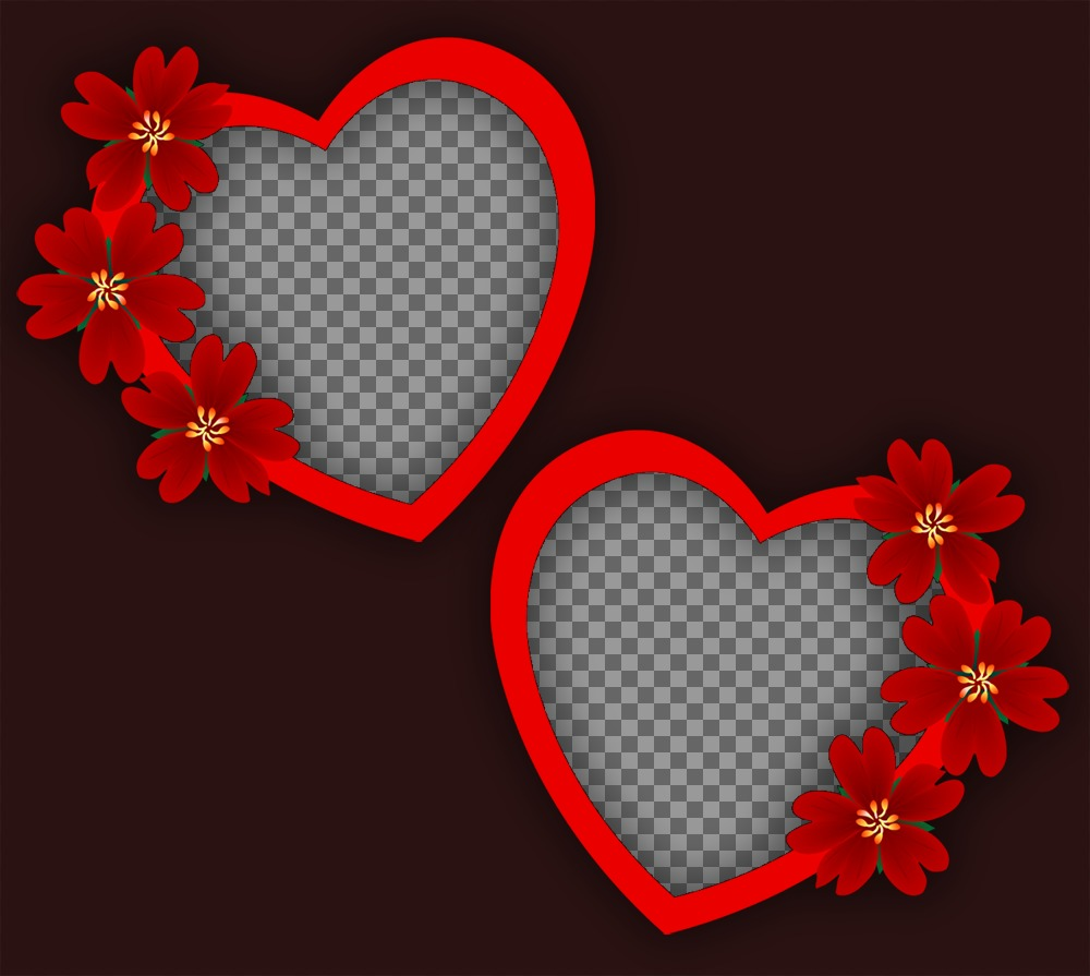 Photomontage Of Love With Two Frames Of Hearts And Flowers For Two