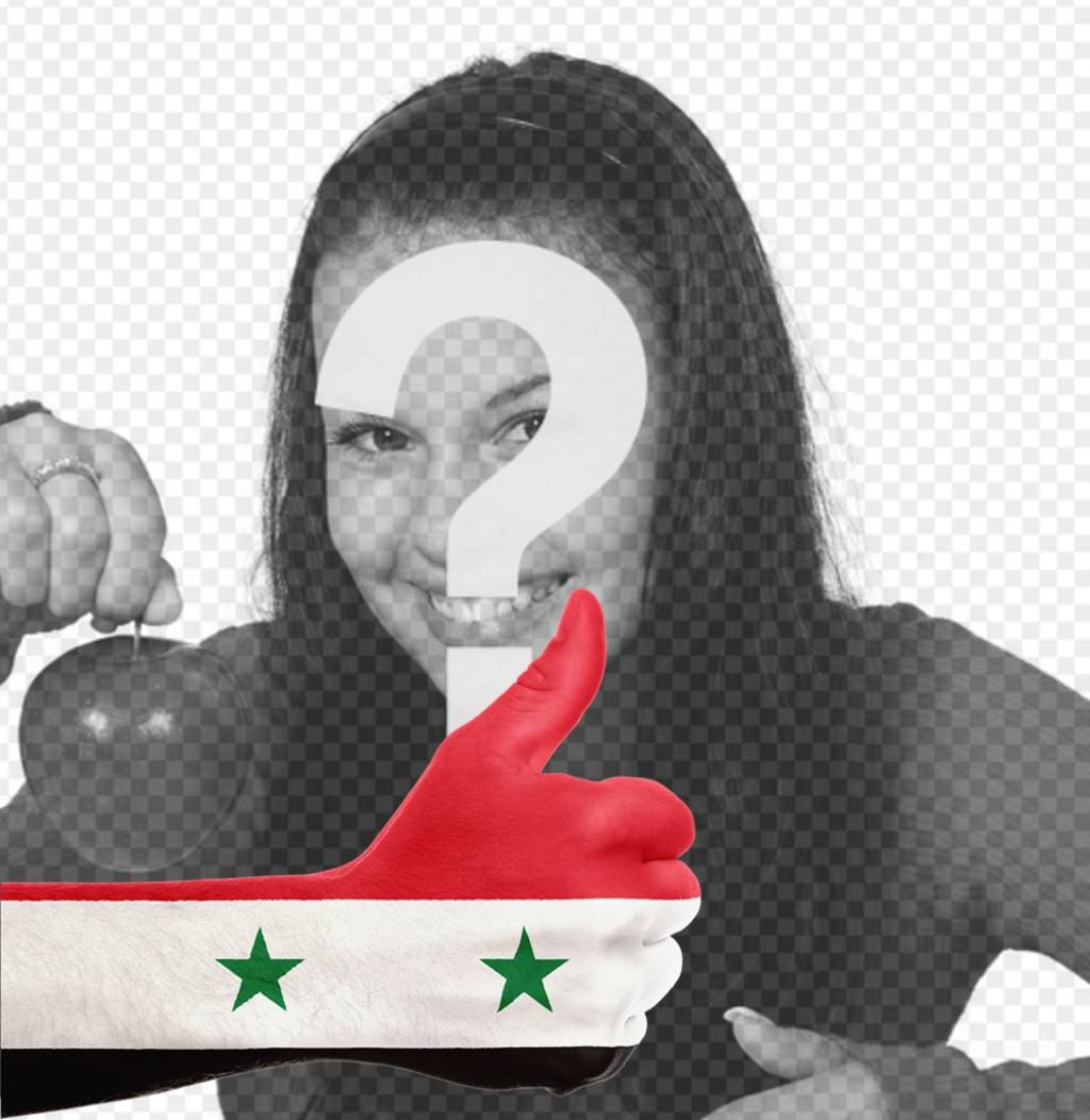 Hand with Syria flag to add your photo online