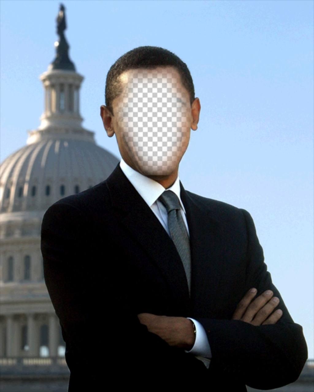 Photomontage of Barack Obama, president of USA to put your photo