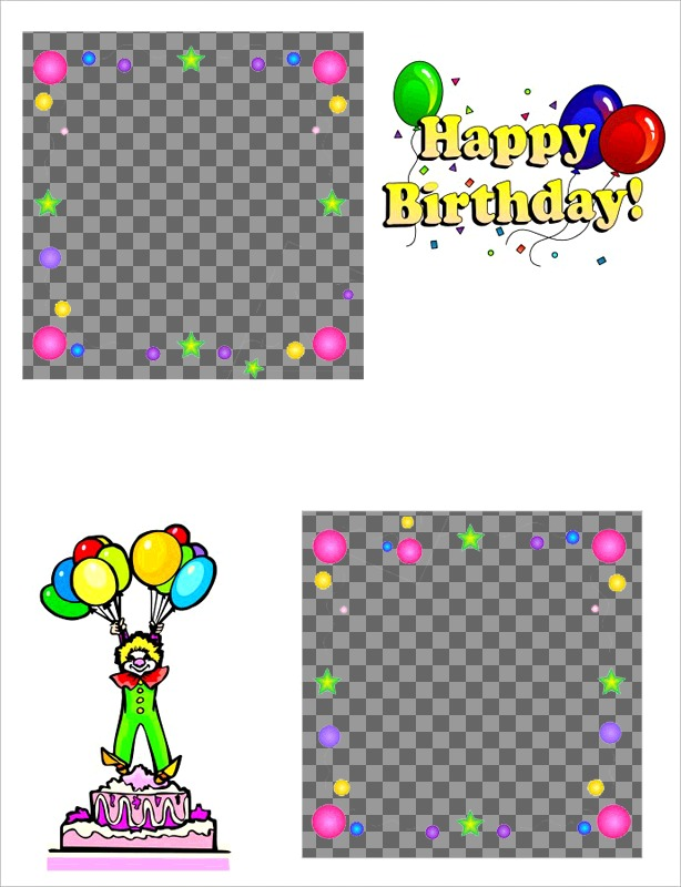 Birthday card for two photos, with motifs of cake, clown and balloons