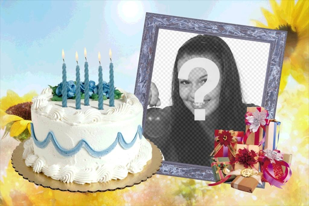 Photo frame with birthday cake and gifts