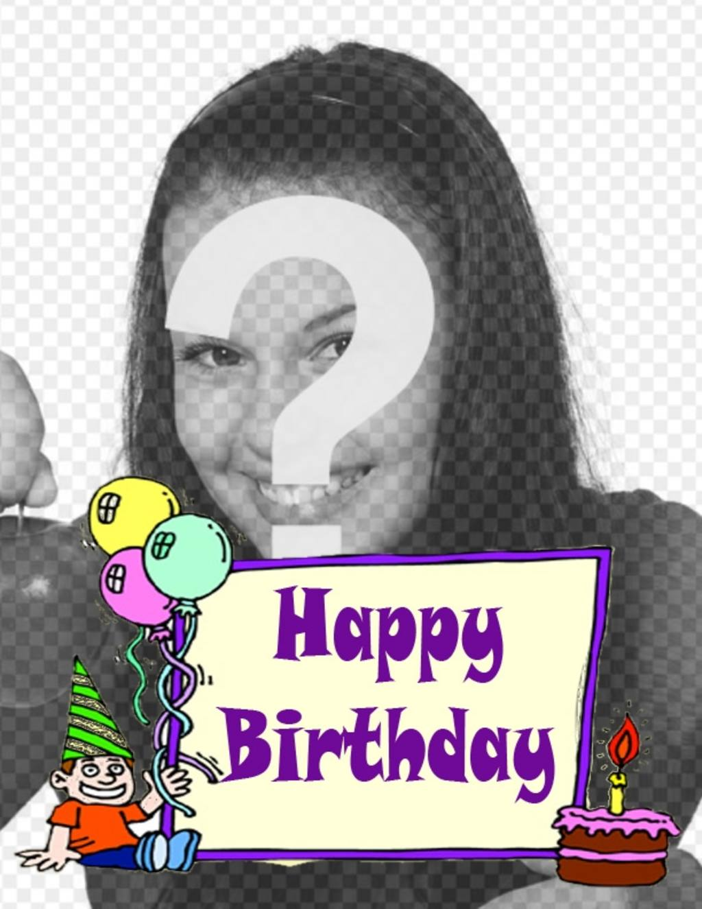 Birthday card for child to put a photo background