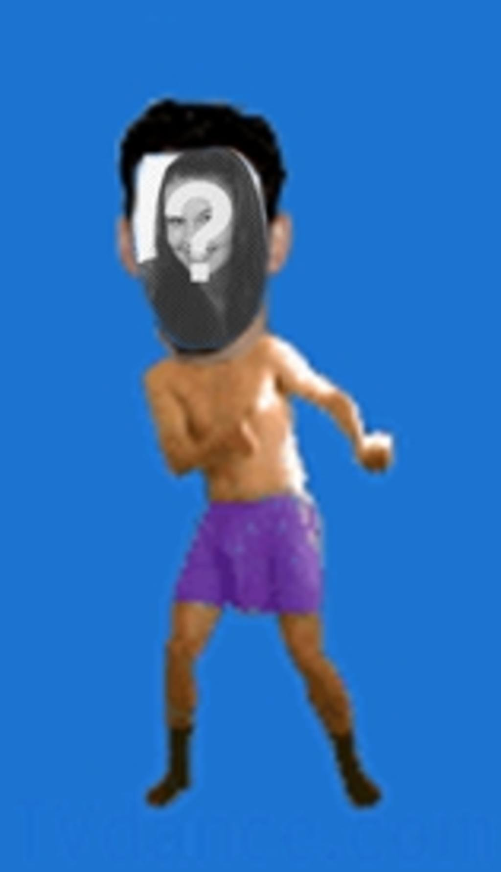 Animation of a man in his underwear dancing the boogie in which to insert the face of your choice