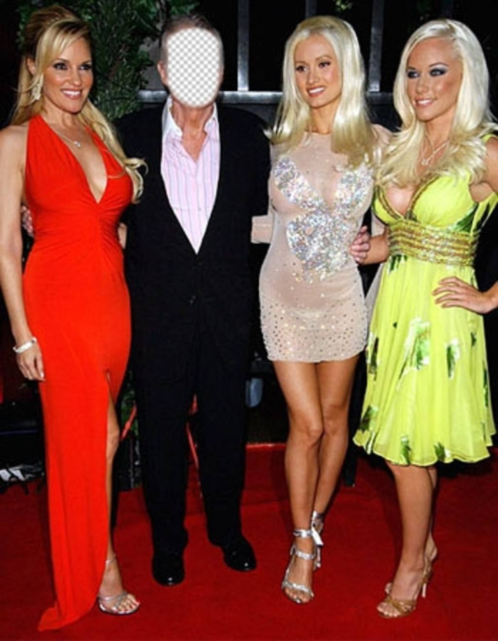 Editable photomontage of the owner of the famous magazine Playboy with girls