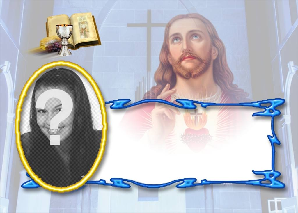 Template free memory card with a photograph Reason Communion of Jesus with Bible and chalice. You can download or send the reminder card to an e-mail address