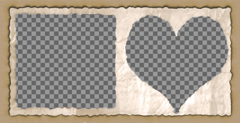 Frame for two pictures with heart-shaped and square edges of paper. Add two images and you can send or save the custom layout