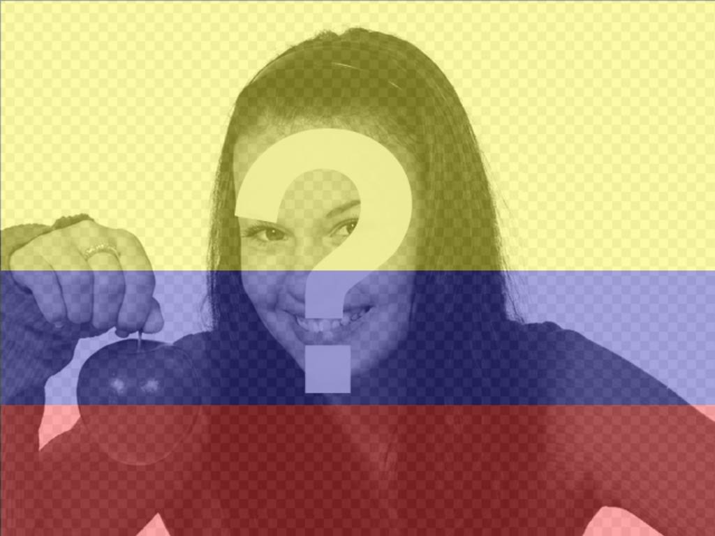 Photomontage with the image of the flag of Colombia and photo