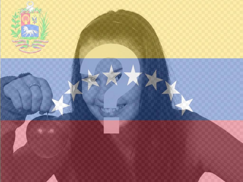 Photomontage with Venezuela flag in the background