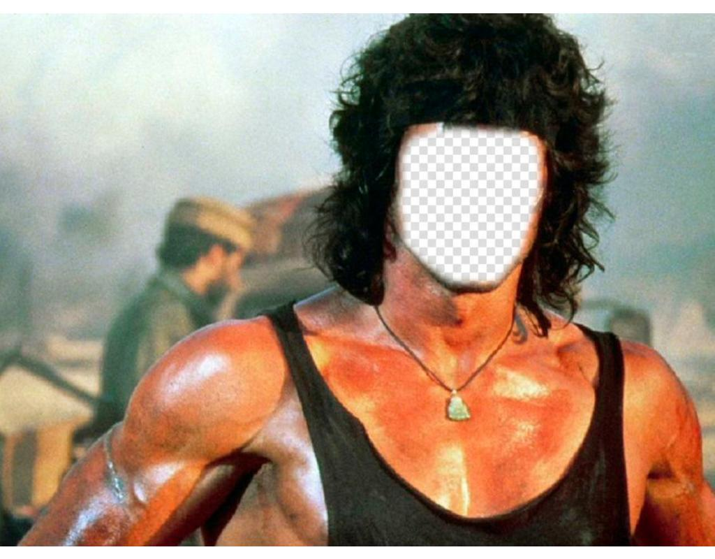 Photomontage that you can put the face you want in the body of Rambo
