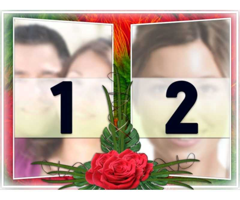 """Elegant photo montage with two photographs in a frame of green and red floral motifs. With roses in between. Ideal for a couple in love. As a reminder of important dates and Valentine""""s Day"""