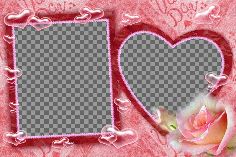 """Frame for two pictures, one square and one heart shaped, pink background hearts and bubbles. Ideal for Valentine""""s Day"""