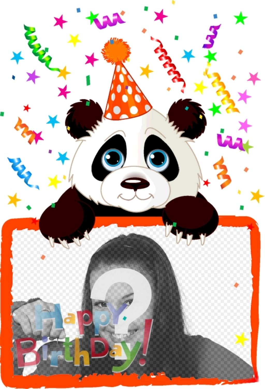 Birthday greeting postcard with a panda