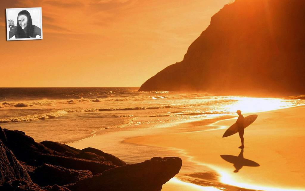5c6f286f721 Twitter background template with your photo: surfer in the beach