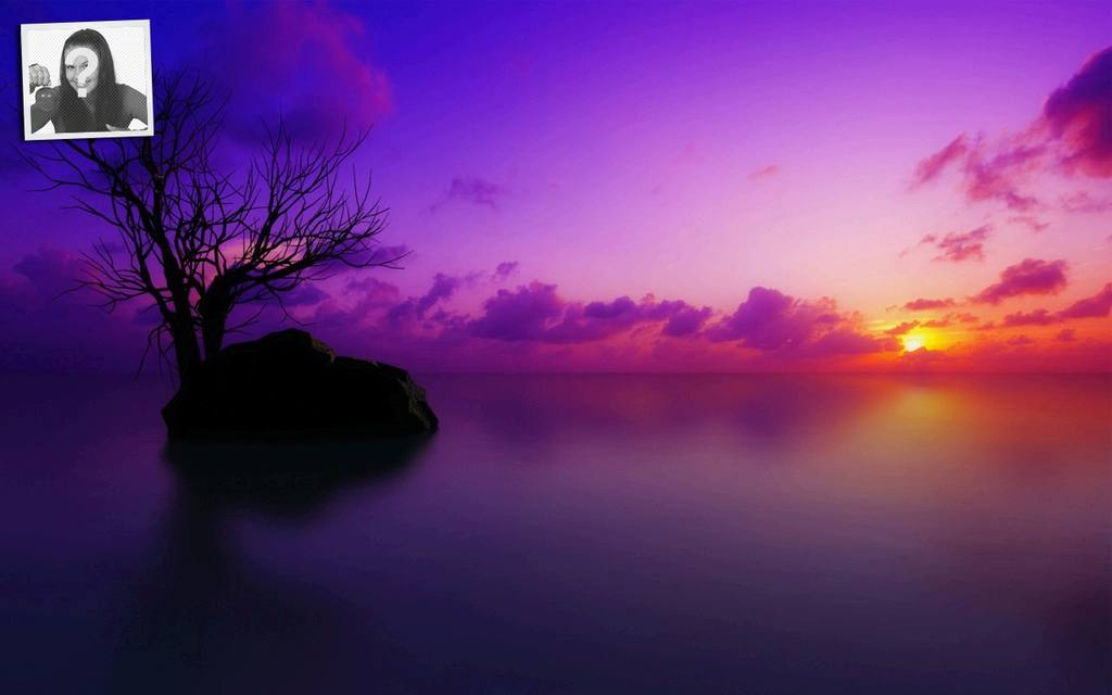 Sunset, customizable wallpaper for twitter with your photo