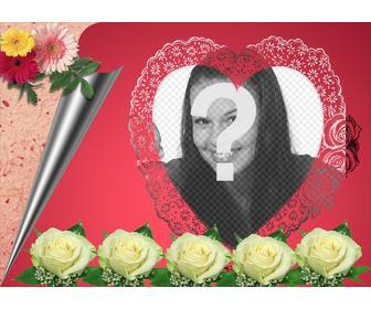 photomontage consisting of romantic pink in ur photo appears in heart-shaped frame accompanied by flowers and wrapping paper ideal for lovers to send e-mail this valentine