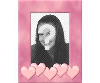 picture frame with pink border decorated with hearts upload picture cut it out and put this edge as decoration that inspires love