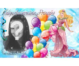 photo montage to create postcard to congratulate the birthday of the princess of the house
