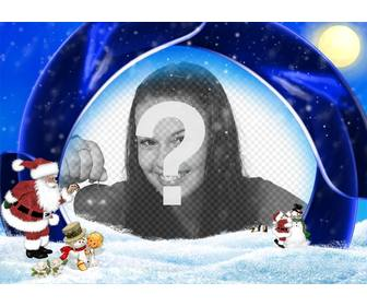 christmas card blue background and snow in which to insert ur picture are santa claus boy and snowmen