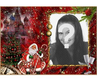 elegant photomontage of christmas and santa claus to add ur picture